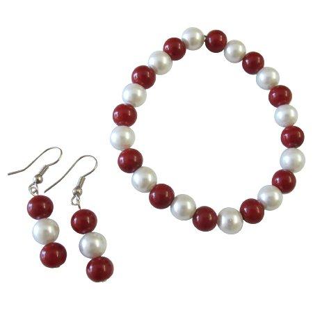 UBR295  Handmade Christmas Gift White Coral Pearls Bracelet Earrings Set