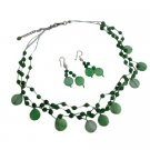 NS315  Jade Green Shell Green Nugget & Fancy Beads Necklace Green Jewelry Set