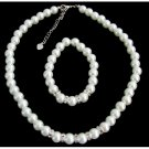 NS1427 White Pearls Rhinestone Flower Girl Wedding Bridesmaid Bridal Necklace Bracelet Set