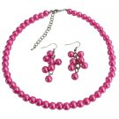 NS1407 Cluster Least Expensive Jewelry Fuchsia Wedding Necklace Cluseter Earrings