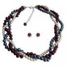 NS1372 Twisted Statement Necklace Gray Ivory Purple Pearls Wedding Bridesmaid Necklace Set
