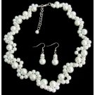 NS1373 Bridesmaid Necklace Set Pearl Wedding White Pearls Link Necklace Set