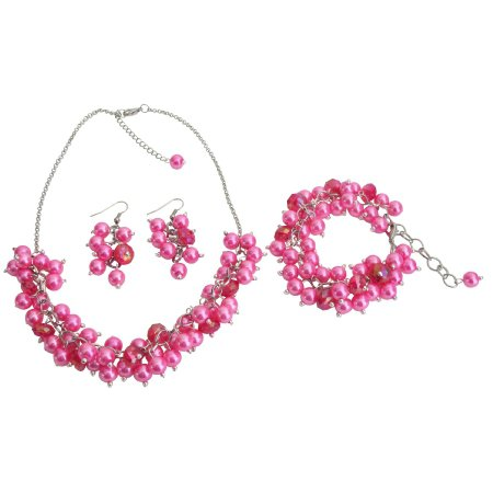 NS1303 Wedding Pearl Necklace Beaded Chunky Jewelry Hot Pink Pearls Glamorous Gift