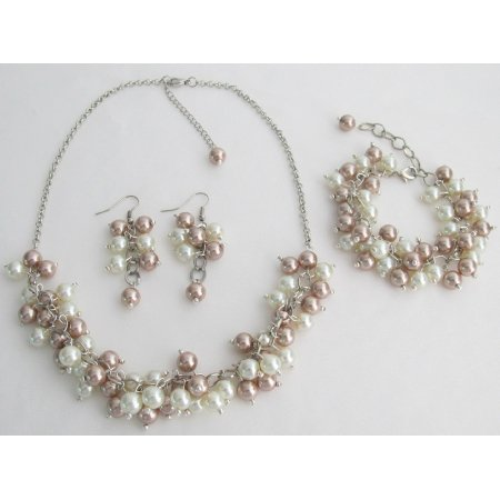 NS1422 Bridal Prom Wedding Ivory Champagne Necklace Earrings Bracelet Jewelry Set