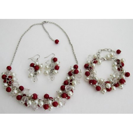 NS1420 Red Ivory Cluster Necklace Earrings Bracelet Wedding Christmas Gift Complete Jewelry