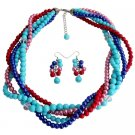 NS1337  Summer Beach Multi Color Pearls Five Strand Braided Necklace With Dangling Earrings