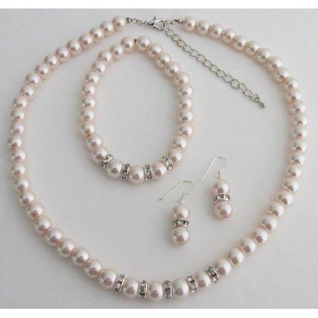 NS1412 Blush Pink Pearl Rhinestones Necklace Earrings Bracelet Wedding Set