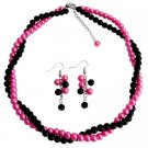 NS1399 Wedding Great Gift Double Strands Twisted Necklace Earrings Set