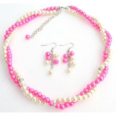NS1413 Hot pink Ivory Bridesmaid Jewelry Set Necklace Earrings Set with Rhinestone Spacer