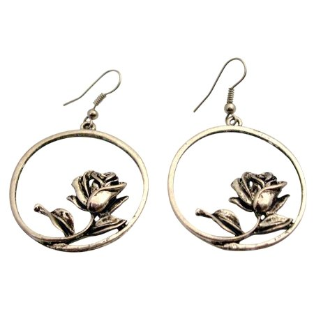 UER464 Alloy Artistically Earring w/ Rose Inside The Round Earrings Dangle
