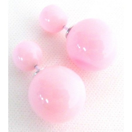 UER751 Pastel Pink Double Sided Bubble Bead Stud Earring Party Wedding Gift