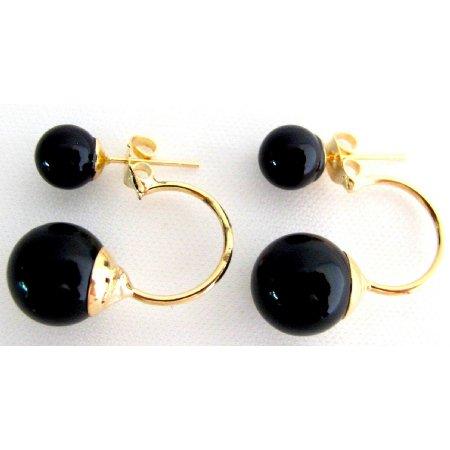UER756 Ear Jacket Earrlngs Gold Post Earrings Black Pearl Gold Post Earrings