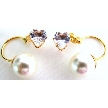 UER761 Gorgeouse Beautiful CZ Heart Ivory Pearl Ear Jacket Earrlngs Valentine Holiday Gift