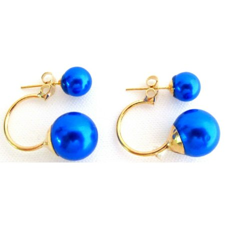 UER799 Double Sided Pearl Blue Pearl Bridesmaid Wedding Jewelry Bridal Earrings