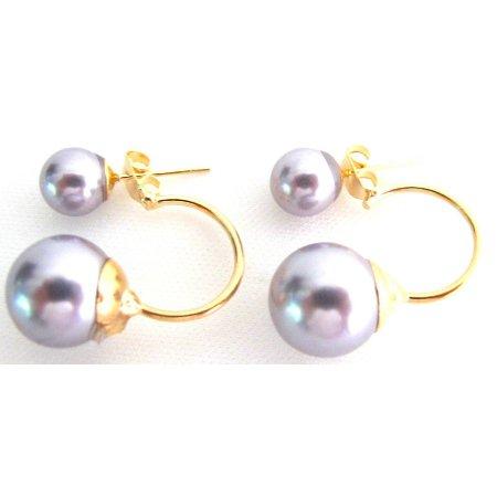 UER757 Gray Pearl Ear Jacket Earrings Double Sided Earrings Bridesmaid Earrings