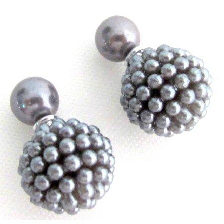 UER766 Gray Pearl Double Sided Earrings Bridal Bridesmaid Wedding Fashion
