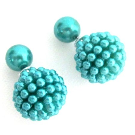UER764 Teal Pearl Earrings Double Sided Earrings Fun Wearring Gift Earrings