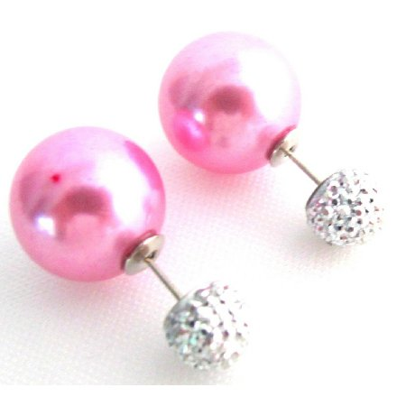 UER741 Fuchsia Pearl Front Back Double Sided Stud Earrings Complimentary Gift