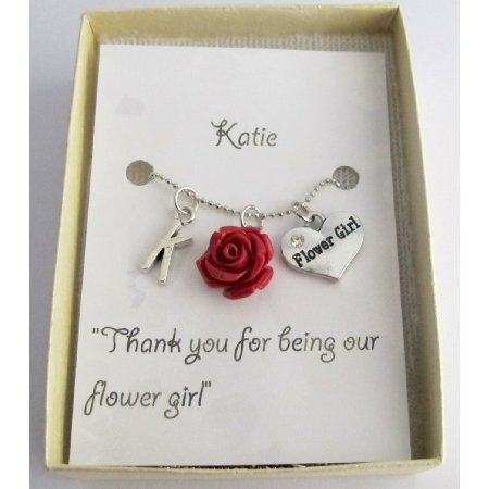 GC519 Wedding Gifts Personalized Flower Girl Necklace Rose Pendant