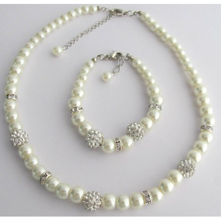 GC415 Pearl Necklace Bracelet Pave Ball Rhinestones Jewelry Ivory Pearl Set