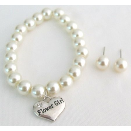 GC377  Bridal Shower Jewelry Flower Girl Bracelet & Stud Earrings