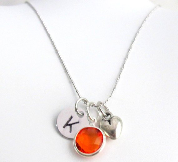 Puffy Heart Initial Birthstone Necklace, Personalized Gift for Teens Girls