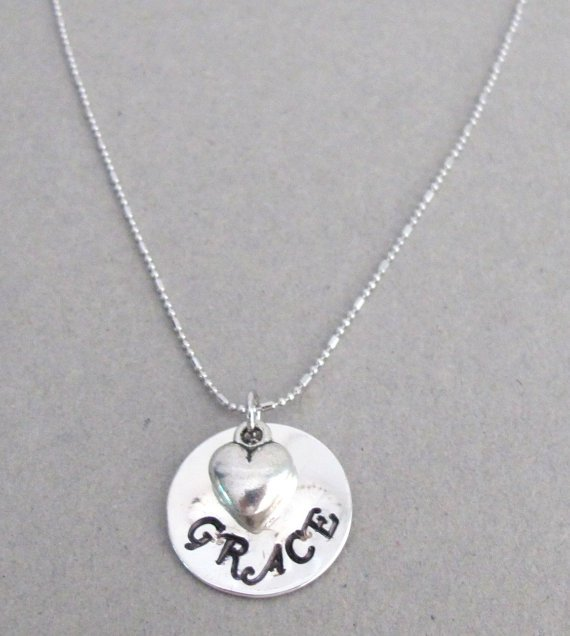 Hand stamped Name Pendant Necklace Child Name with Puffy Heart