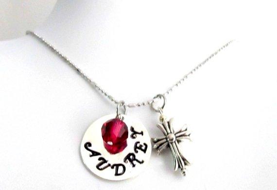 Personalized Cross Necklace Swarovski Crystal Adult Baptism Gift,