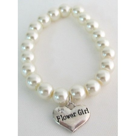 GC376 Wedding Gift Bridal Party Jewelry Flower Girl Bracelet Ivory Pearls f