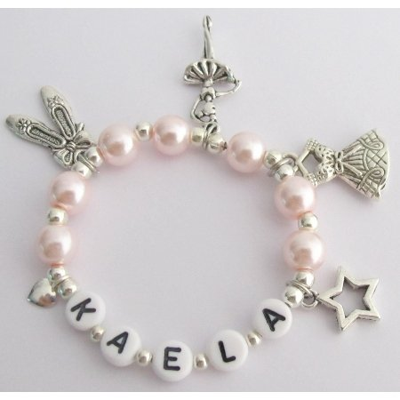 GC449 Recital Gift Ballet Bracelet Blush Pink W/ Multiple Ballet Charms