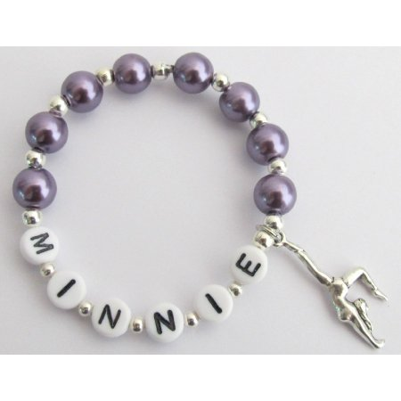 GC401 Gymnastics Charm Name Bracelet Dark Purple Pearls Bracelets