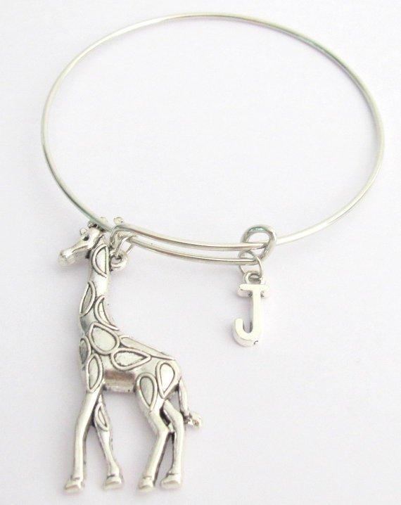Large Giraffe Bangle Charm Bangle Monogram Initial Bracelet