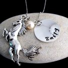 Horse Necklace, Horse Jewelry Personalized Necklace - Christmas Gift - Name Necklace-Birthstone