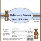 It's a Boy Brown Teddy Birth Announcement & Shower Candy Bar Wrapper