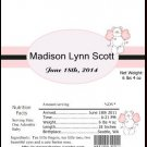 Pink Angel Bear Birth Announcement & Shower Candy Bar Wrapper