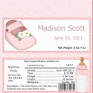 Girl Baby Shoe Birth Announcement & Shower Candy Bar Wrapper
