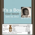 It's A Boy Picture Birth Announcement & Shower Candy Bar Wrapper