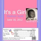 It's A Girl Picture Birth Announcement & Shower Candy Bar Wrapper