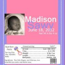 Pink Personalize Picture Birth Announcement Candy Bar Wrapper