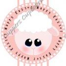 Easter Pencil or Straw Slider ~ Happy Easter Lamb Pink Stripe ~ 3 Dozen Set