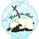 Easter Pencil or Straw Slider ~ Aqua Sheep ~ 3 Dozen Set