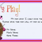 Mommy & Daddy Play Date Calling Cards ~ Warm Fuzzy Girl ~ Set of 30 Cards