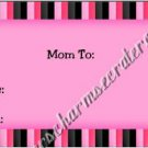 Mommy & Daddy Play Date Calling Cards ~ Pink & Black Stripe  ~ Set of 30 Cards