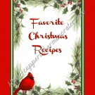 "Recipe Book 4"" X 6"" Size ~  Cardinal Christmas Theme"