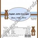 Baby Boy Brown Bear Announcement Candy Bar Wrapper