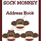 "Address Book 5"" X 7"" Size ~  Sock Monkey Address Book"