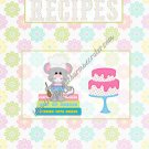 "Recipe Book 5"" X 7"" Size ~ Pastel Mouse"