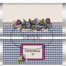 Navy Floral Gingham Standard Size Candy Bar Wrapper