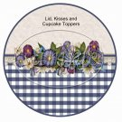 Navy Floral Gingham Cupcake Picks & Toppers