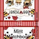 Please BEE Mine ~ Valentine's Day Mint Book Matchbook Wrapper ~ 3 Dozen